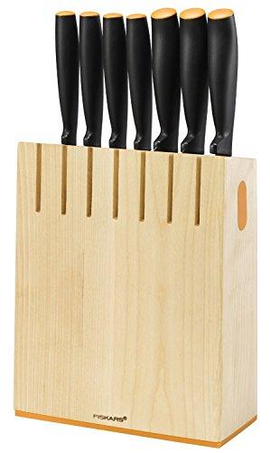 Fiskars Design-Messerblock mit 7 Messern, Breite: 20,8 cm, Höhe: 37 cm, Birkenholz, Functional...
