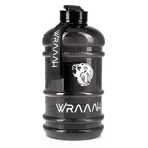 WRAAAH Trinkflasche Sport - 2 L Fitness Wasserflasche - Groß XXL Sportflasche - Gym Water Bottle - BPA Frei - Water jug - Extra stark