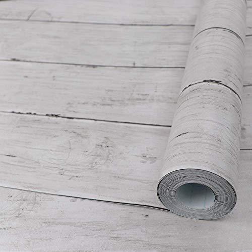 Holz Folie Selbstklebend Weiß 45X300cm abnehmbare Holzschale und Stick-Tapete Dekorative Wandverkleidung Vintage Holzpaneel-Innenfolie Lassen Sie Keine Spuren zurück