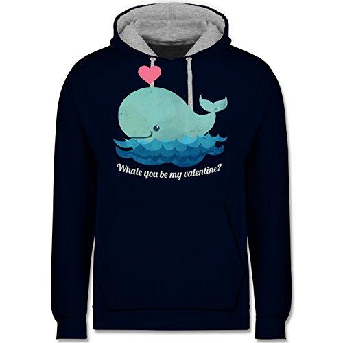 Romantisch - whale you be my valentine? - Kontrast Hoodie Dunkelblau/Grau meliert