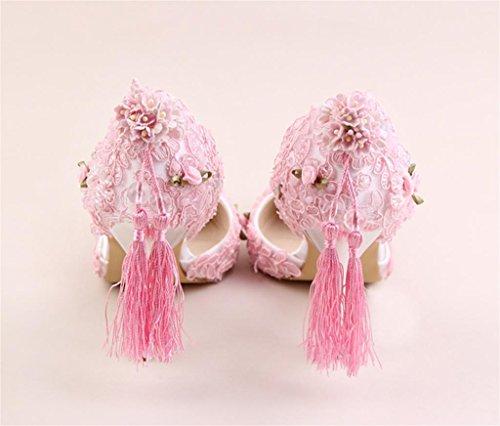 purpurrote Troddel-Hefterzufuhren Nehmen Frauen-Hose-Spitze-Blumen-Brautschuhe-Perlen-Super Hohe Kleid-Kleid-Schuh-Frauen-Sandelholze ab, 38 Schedule, Pink (Super Hohe Stiefel)
