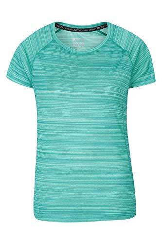 Mountain Warehouse Gestreiftes Damen-T-Shirt Endurance - UPF30+-UV-Schutz, Sommeroberteil, antibakteriell, leicht, schnell trocknend - zum Reisen und Wandern Two Tone Green DE 38 (EU 40)