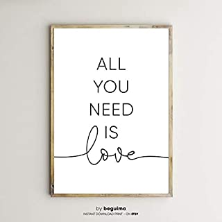 Seleprint All You Need is LoveQuote PrintsBedroom DecorPrintable QuotesQuote Wall ArtHome DecorationTypography PosterScandinavianFile