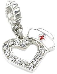 Queen Berry Charm de colgante para pandora/Troll/Chamilia/Biagi/europeos Charm de pulseras, Plata de ley, corazón con Enfermera Sombrero y Cruz Roja de Esmalte