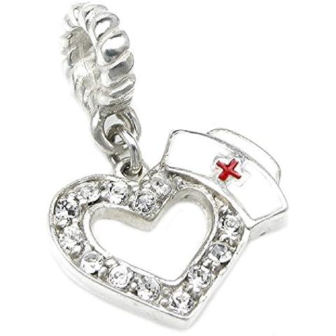 Queenberry Charm in argento Sterling 925 a forma di cuore, con cappello da infermiera, con cristalli trasparenti, per bracciali Pandora, Biagi, Troll, Chamilia
