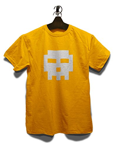 Pixel Totenkopf T-Shirt Gelb
