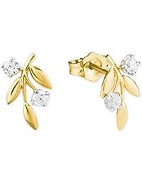 585 er Gold Halb 14k Creolen Ohrringe für Damen /& Maedchen Weißgold m Zirkonia