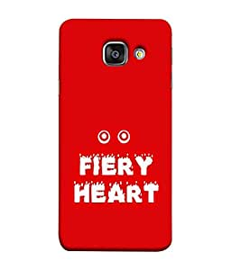 FUSON Designer Back Case Cover for Samsung Galaxy A9 Pro (Fiery Heart Design Red color background Eyes White color lettering)