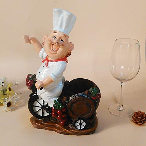 ZJWZ Weinregal Kunsthandwerk glücklicher Koch passt für zu Hause, Küche, Bar, Wohnzimmer Zu Hause Koch