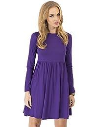 elomoda Mini - Kleid weit geschnitten mit Schleife Top 6 Farben Gr. 36 38 40 42 44 46, 8999