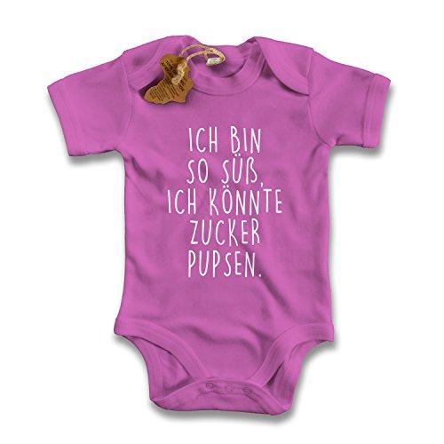 net-shirts Organic Baby Body mit Ich bin so süß ich könnte Zucker pupsen Aufdruck Spruch lustig Strampler Babybekleidung aus Bio-Baumwolle mit Zertifikat, Größe 12-18 Monate, pink
