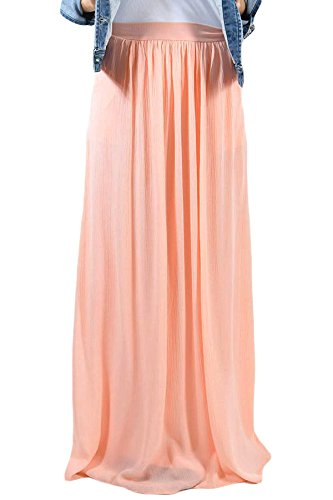 New Peach Pink Elastic Taille Plissee Maxi Rock Club Wear Party Wear Abend Kleid Gr. L (Plissee-lange Volle Rock)
