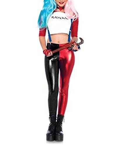 Janisramone Neue Damen Harley Quinn Cosplay Halloween Kostüm Shorts Suicide Squad Oberteil Kurze Hosen Leggings (50's Halloween Kostüme Uk)