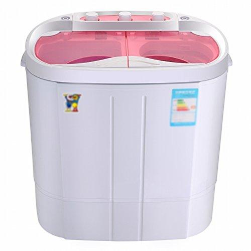 GCCI Mini-waschmaschine Kleine Halbautomatische Doppelf?sser Baby Kind mit Einer Trockenen Dehydratation,Rosa