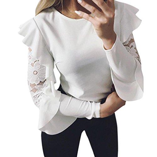 BHYDRY Frauen-Feste Lange Hülsen-Spitze-nähende Oansatz T-Shirt Pullover-Oberseiten-Bluse(S,Weiß)