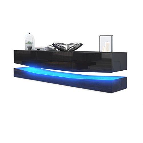 Meuble TV Armoire basse City, Corps en Noir haute brillance / Façades en Noir haute brillance avec l'éclairage LED
