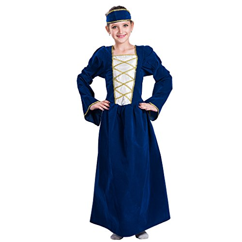 EraSpooky Mädchen Tudor Kostüm Mittelalter Prinzessin Königin Kinder Outfit(Blau, Large)