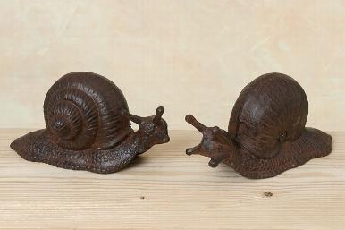 Paire d'escargots en fonte, pour le jardin