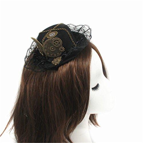 Double Villages Mini Hut Clip Gotisch Frau Steampunk Gang Flügel Uhr Schmetterling Hut Spitze Haar Clip Kopfbedeckung (Mini-hüte Für Frauen)