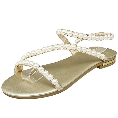 COOLCEPT Femmes Beaded Mariage Sandales Ete Beach Robe Appartements Chaussures Or