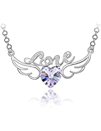 """Crystal Diamond Accent Angel Wings Heart Shape """"LOVE"""" Pendant Necklace Made with Swarovski Crystal, with a Gift Box"""