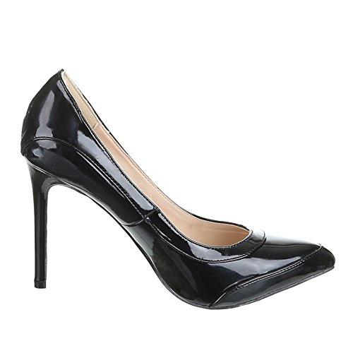 Damen Schuhe, QJ305-7, PUMPS STILETTO Schwarz