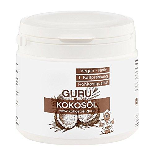 Guru Bio Kokosöl 500ml Pflegeprodukt für Haut Haare Gesicht | Bio Nativ Kaltgepresst | Kokosfett Virgin Kokosnussöl