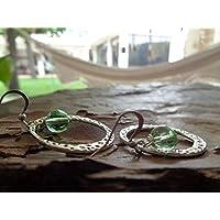✿ MARTILLADO ANILLO Y BOLA DE CRISTAL ✿ Pendientes boho en verde transparente