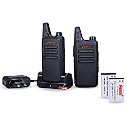 Zeadio Walkie-Talkie slim PMR 446 con auricular, 16 canales con clip de cinturón, cargador USB y batería recargable 1500mAh (1 Par)