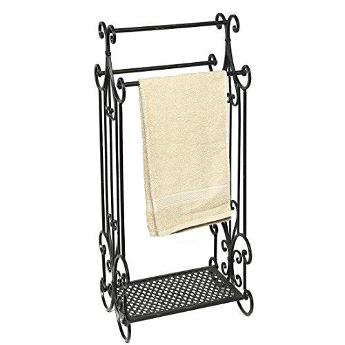 Fashionpillow -1211306- Nostalgie Handtuchhalter, schwarz | Antiklook Metall - Handtuchständer mit...
