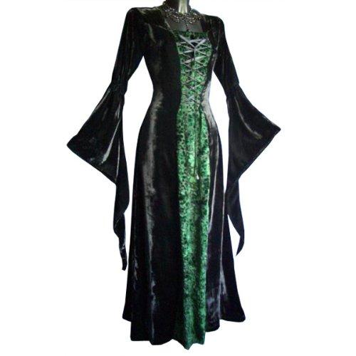 Jeu de rôle GN - Robe médiévale Bruna en velours, noir/vert Multicolore