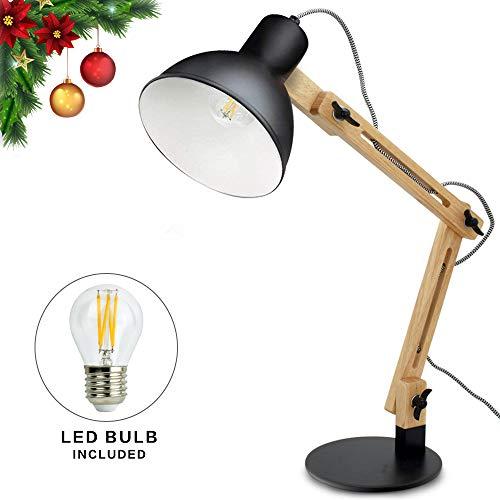 DLLT E27 Tischlampe mit verstellbarer Holzarm, Schreibtischlampe mit Druckschalter, klassische Leselampe,schwarz, für Büro, Schlafzimmer, Wohnzimmer, Arbeitszimmer, Kinderzimmer usw.