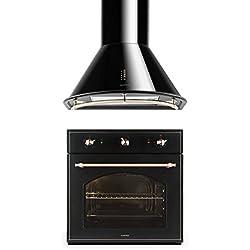 Klarstein Set Vilhelmine y Noir Prima (horno empotrable de 55 litros, campana extractora con capacidad de 430 m³/h, diseño victoriano) - negro
