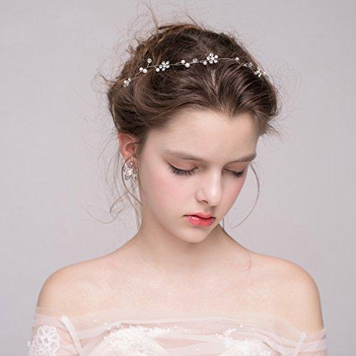 Dayiss Süß Braut Haarschmuck Blumen Diademe mit Kristall Perlen Hochzeit Vintage Silber und Gold (Silber) - 2