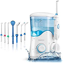 YOUNGDO Jet Dentaire Hydropulseur Ultra 600ML Familial Irrigateur Oral Professionnel 10 Niveaux Pressions D'eau 7 Buses de rechange pour Soins Hygiène de Dents