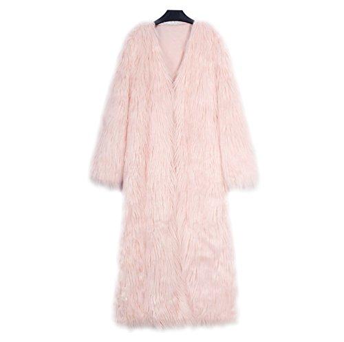 Yuandian donna autunno e inverno casuale super lungo v collare parka cappotto di pelliccia sintetica elegante morbido caldo ecologiche faux pellicce cappotti peach rosa 3xl