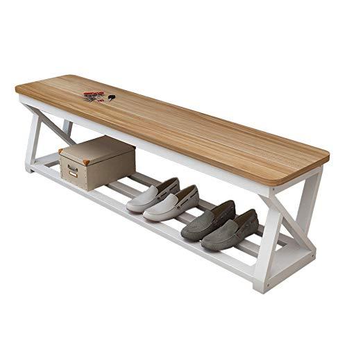 Liuzecai Schuhregal Flur Badezimmer Wohnzimmer und Korridor Metall Schuh Bank Schuhregal Storage Organizer (Farbe : Wood, Größe : 120x30x45cm) -