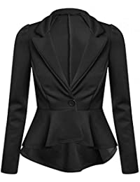 Womens Long Sleeve Crop Peplum Tailored Mullet Blazer Jackets Frill Coats 424f9864f