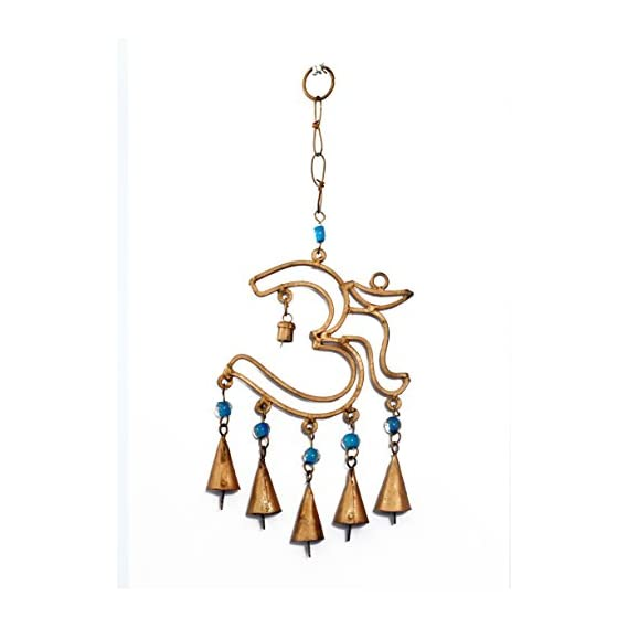 Exotic Art Om Decorative Wall Hanging Bell Wind Chime Home Decor Feng Shui Door Wind Bell(Gold)