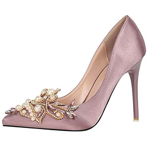 Oasap Women's Pointed Toe Rhinestone Pearls Slip on Stiletto Pumps Light Purple