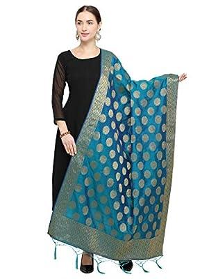 Pisara Women Silk Banarasi Dupatta,Cyan