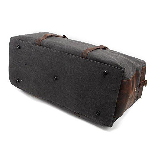Reise-Duffle-Schulter-Handtasche Übergroße Weinlese-Segeltuch-Duffle-Tasche Reise-Tote-Sport-Turnhalle Leinentasche Wochenende-Tasche für Männer grau