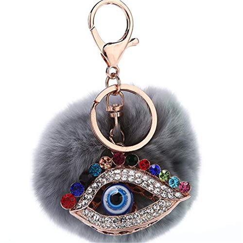 bommel Keychain Elegant Plüsch-Kugel mit Strass Blaue Augen Anhänger Schlüsselanhänger plüsch ball Taschenanhänger strass Auto-Anhänger Pompom Weich Schlüsselring (Grau)