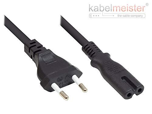 kabelmeister  Euro-Netzkabel - 5m, schwarz - Netzstecker (gerade) an Euro 8 Buchse (gerade) - für Smart TV, Spielekonsole, Radio, Rasierer, usw. - Qualitätsware vom KABELMEISTER