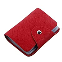 High Quality Red PU Leather Credit Card Holder with 26 Card Slots