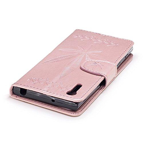 Pour Sony Xperia XZ Case Cover, Premium Soft TPU / PU en cuir gravé en érable Pattern Wallet Case avec Holder & Cash Card Slots & Lanyard ( Color : Rose ) Rose Gold
