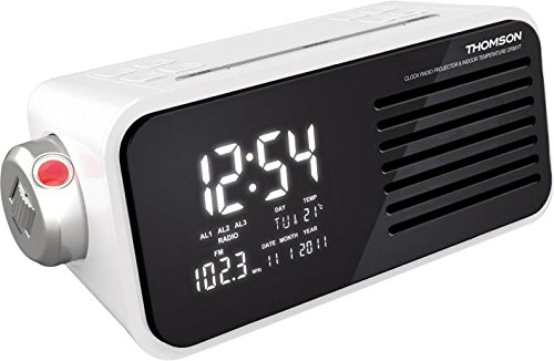 Wasser Radiowecker (Thomson CP301T Radiowecker mit Projektion, digitale Anzeige, Weckfunktion, Kalender, Innenthermometer, MP3-Anschluss möglich (AUX-Buchse) weiß)