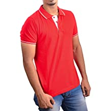 Ruffty Men's Solid Regular Fit Polo (RFTMNSTEE002_M_Red)