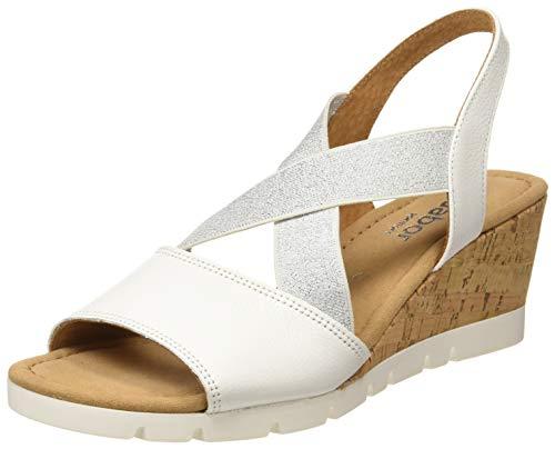Gabor Shoes Comfort Sport, Sandali con Cinturino alla Caviglia Donna, Bianco (Weiss (Kork) 50), 42 EU