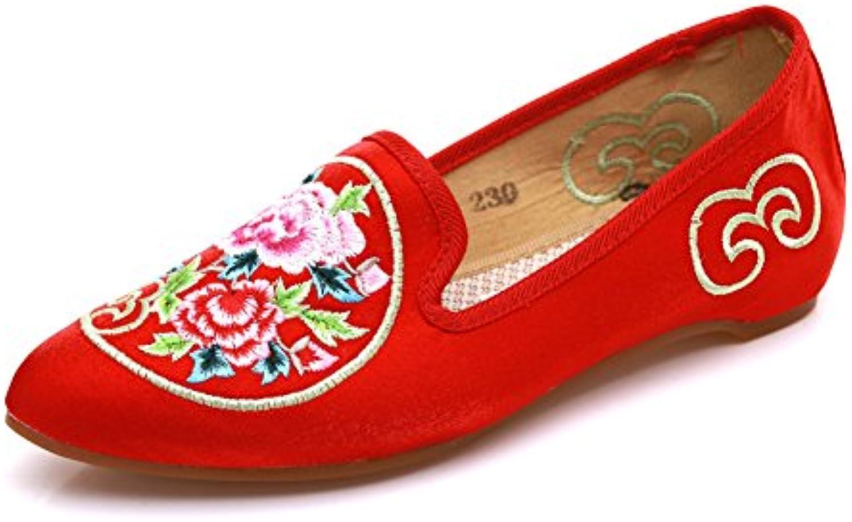 Zapatos Bordados De Mujer Suelas Blandas Pisos De Lona Slip On Loafer Alpargatas,Red,EU36